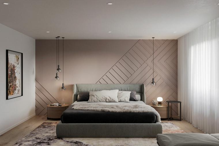 abbinamento colore muri beige e bianco decorazione camera da letto con lampade in sospensione