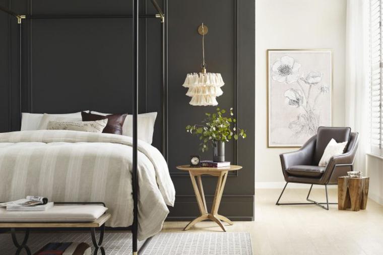 abbinamento colori pareti camera da letto muro con pannello in legno grigio scuro