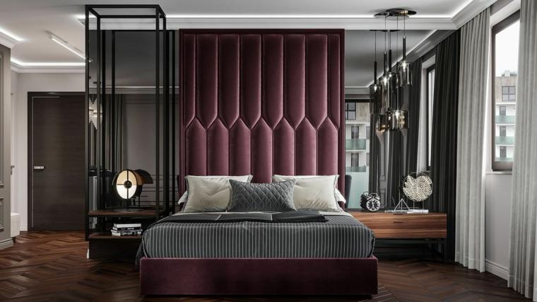 abbinamento colori pareti nero e bianco testata in velluto viola