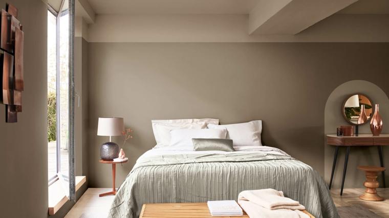 abbinare due colori in una stanza colore grigio e bianco decorazione con specchio e lampada