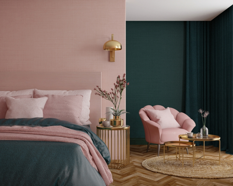 abbinare due colori in una stanza pareti rosa e verde salvia pavimento in legno con tappeto rotondo
