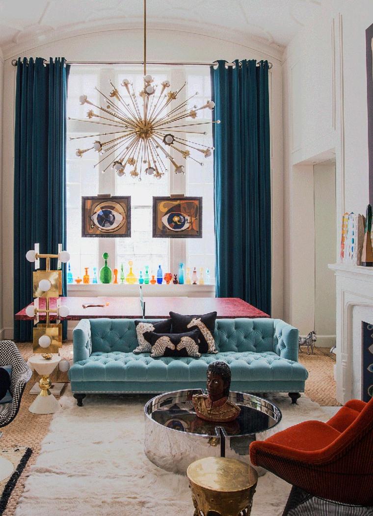 arredo soggiorno stile eclettico divano in tessuto tiffany tavolino basso rotondo