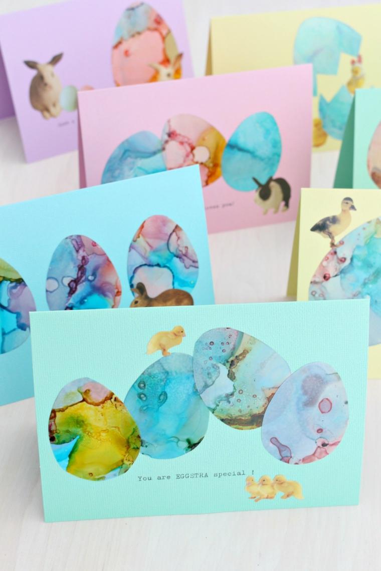 biglietti di auguri di pasqua cartolina con disegno uova pasquali con inchiostro ad alcool