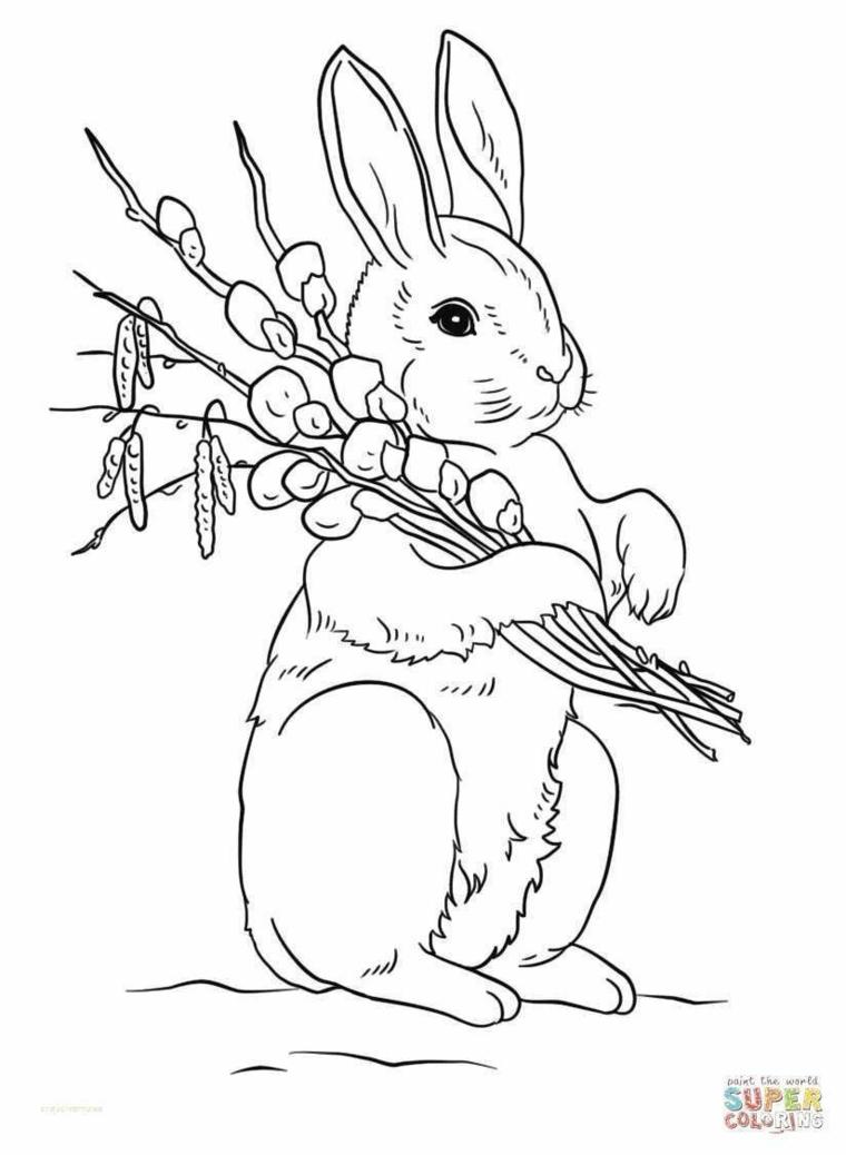 biglietti di pasqua da colorare coniglietto disegnato con matite da colorare