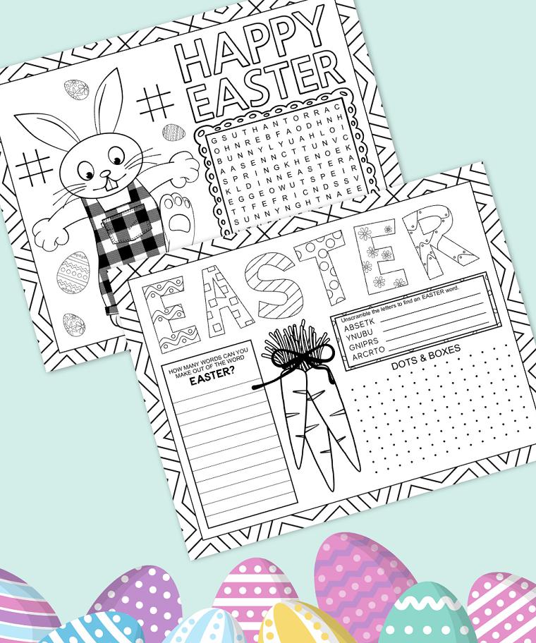 biglietti di pasqua da colorare scritta happy easter con disegno coniglio da colorare
