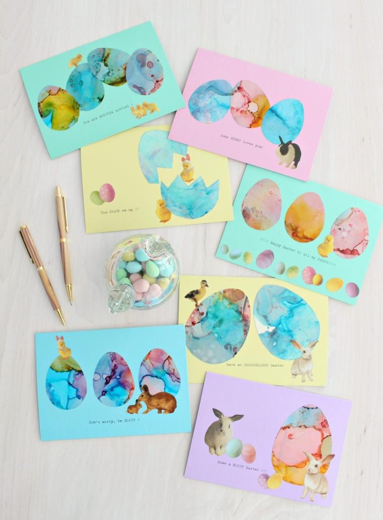biglietti di pasqua facili cartoline con disegni di uova pasquali con inchiostro ad alcool