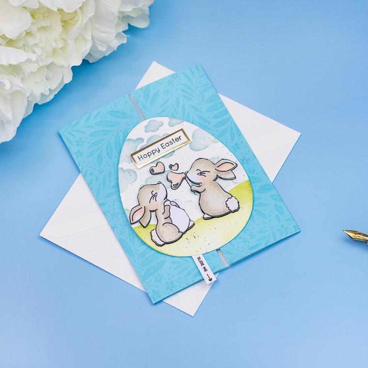biglietti pasquali fai da te cartolina con disegno coniglietti su uovo tridimensionale