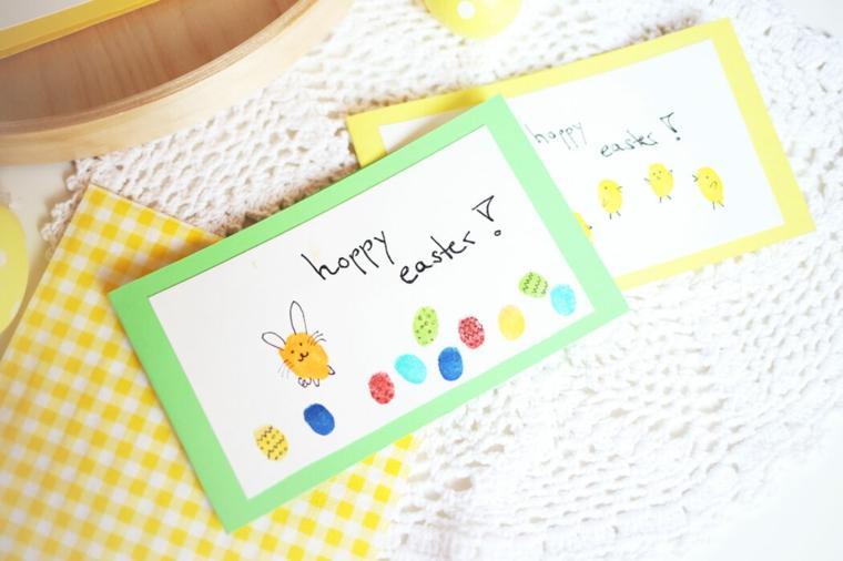 biglietti pasquali per bambini cartolina con disegno scritta happy easter