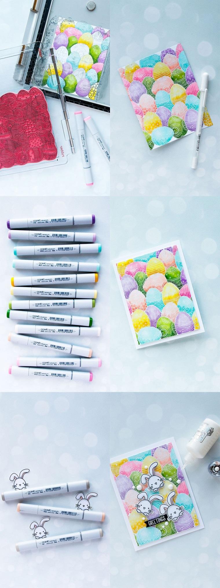 biglietti pasquali per bambini tutorial cartolina con pennarelli colorati