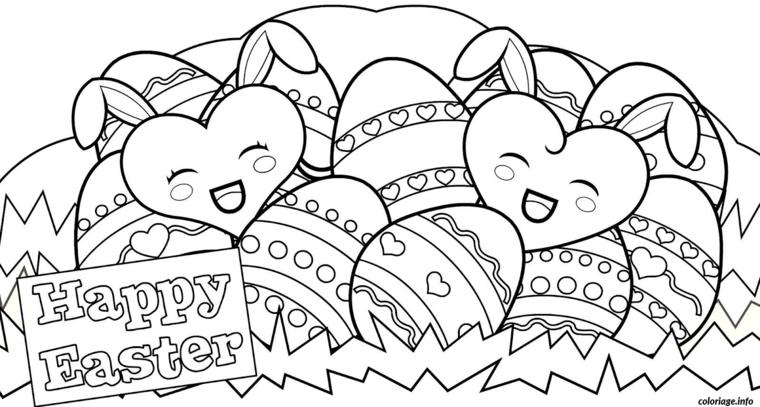 bigliettino buona pasqua da stampare e colorare disegno di uova pasquali