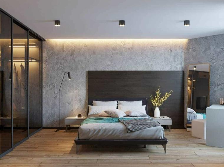 boiserie di legno moderna colori rilassanti per camera da letto soffitto con faretti
