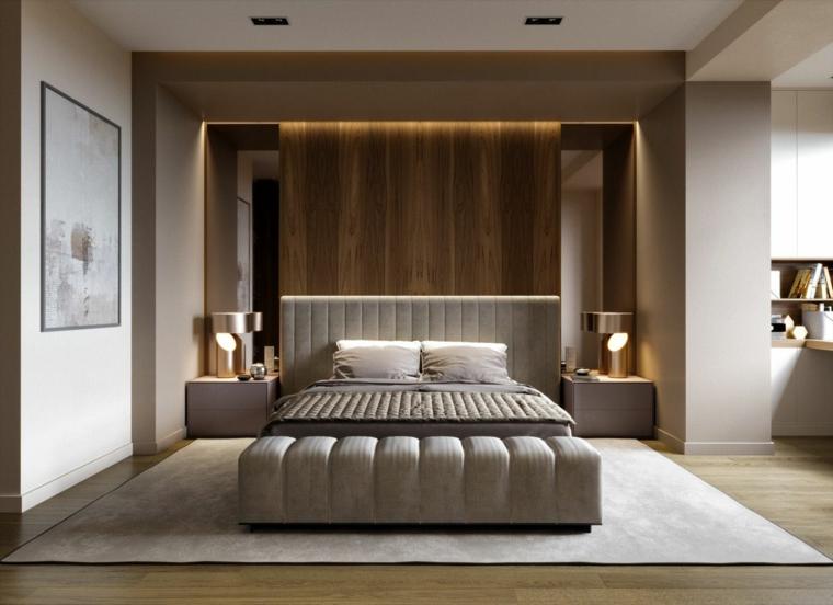 boiserie di legno moderna con illuminazione nascosta camera da letto con pareti grigie e bianche