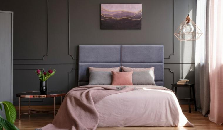 boiserie in legno di colore grigio testata in tessuto come pitturare la camera da letto