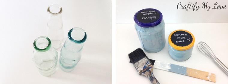 bottiglie di vetro pennelli e colori acrlici pensierino per la festa della mamma