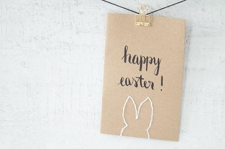 cartolina con scritta happy easter sagoma bianca di coniglio biglietti di auguri di pasqua