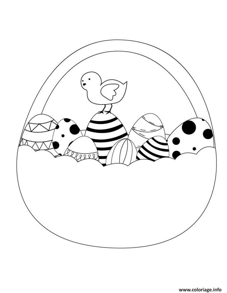 cesta da colorare con uova di pasqua disegno per bambini da stampare