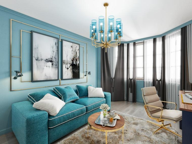 color tiffany pareti soggiorno con divano in tessuto arredamento stile classico