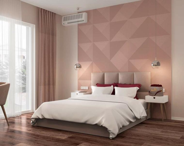 colori pareti camera da letto 2021 boiserie in legno moderna verniciata figure geometriche