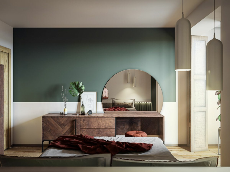 colori rilassanti per camera da letto bianco e verde oliva mobile di legno con specchio rotondo