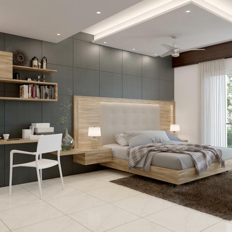colori rilassanti per camera da letto pannello in legno con comodini sospesi