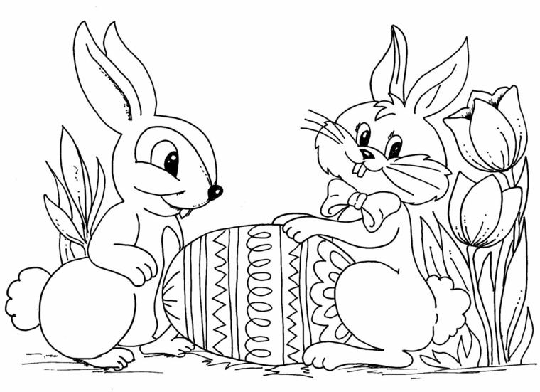 come disegnare un coniglio di pasqua disegno di uovo da colorare