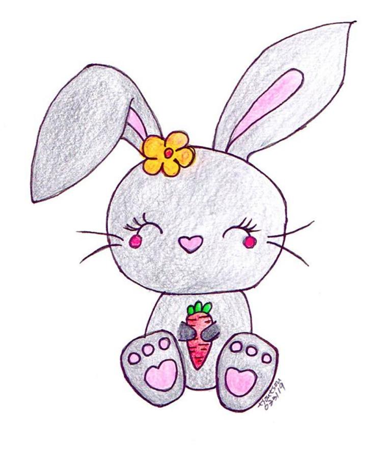 coniglietto pasquale disegno schizzo colorato con matite colorate