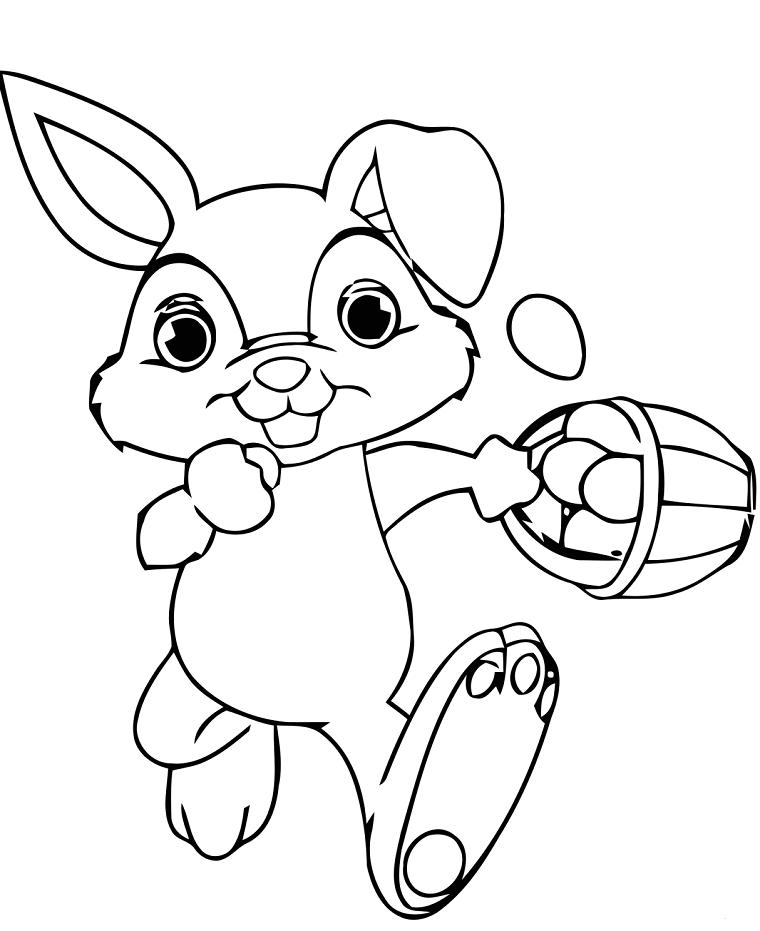 coniglio che corre con cesta di uova pasquali disegno di pasqua da colorare per bambini