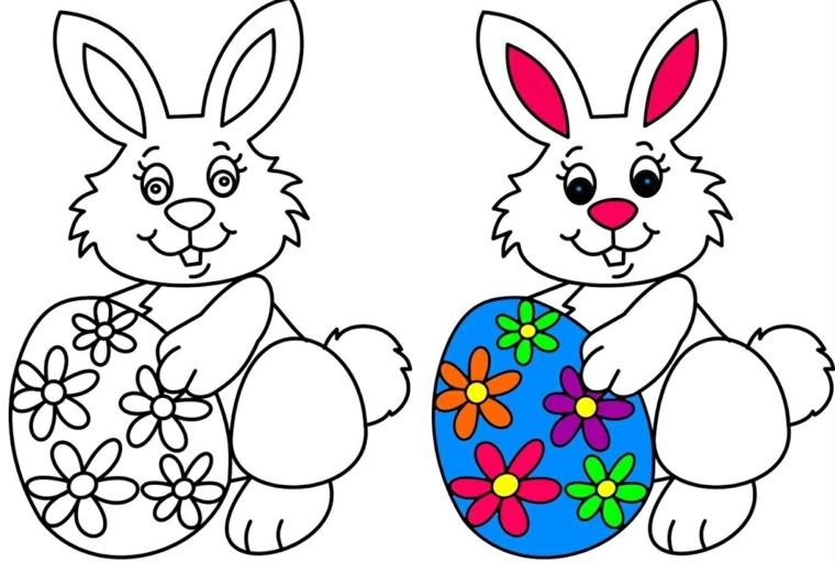 coniglio di pasqua da colorare schizzo con illustrazioni colori da utilizzare