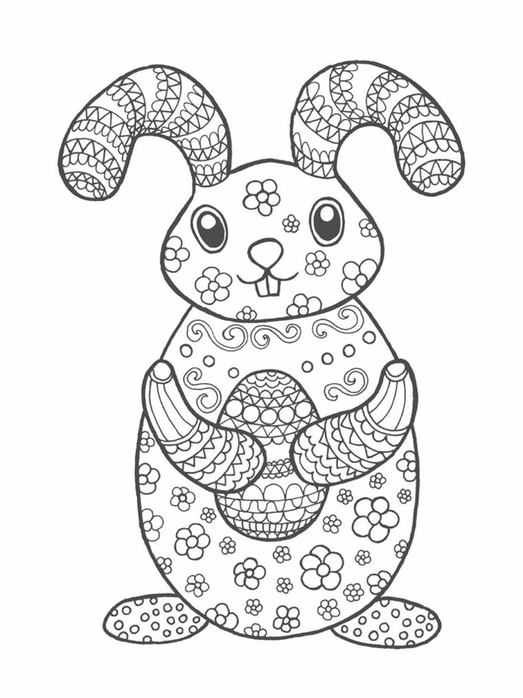 coniglio di pasqua da colorare schizzo con motivi mandala per adulti