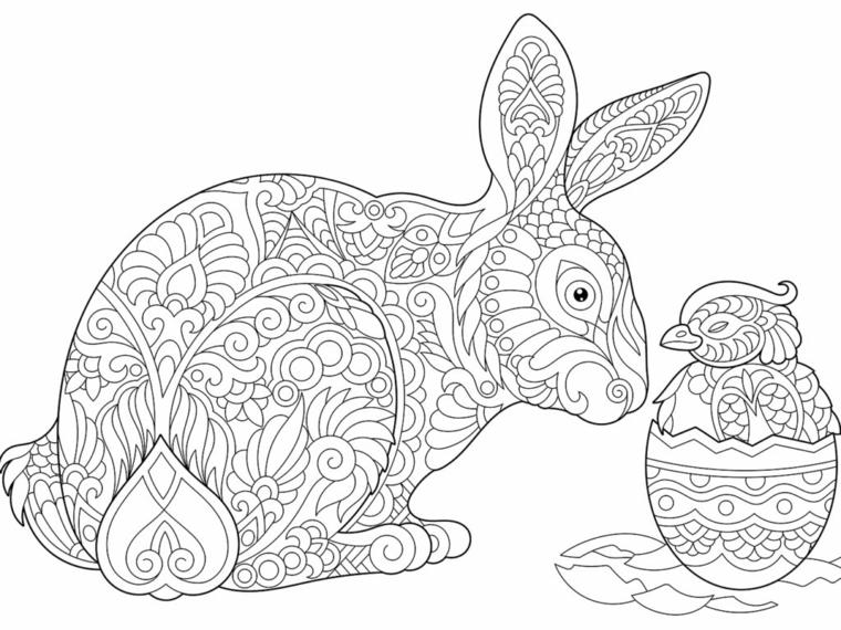 coniglio pasquale con motivi mandala da colorare disegno per adulti da stampare