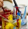 contenitori di vetro con colori acrilici e pennelli disegni pasquali da stampare e colorare
