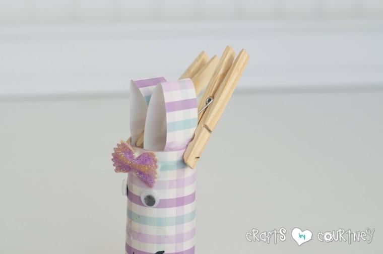 creazioni con rotoli di carta igienica fissare orecchie con mollette di legno