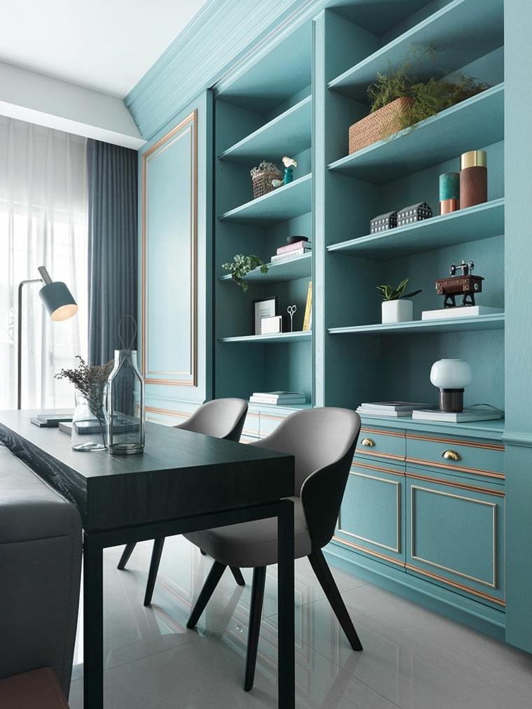 credenza con mensole scrivania con sedie come abbinare il verde tiffany