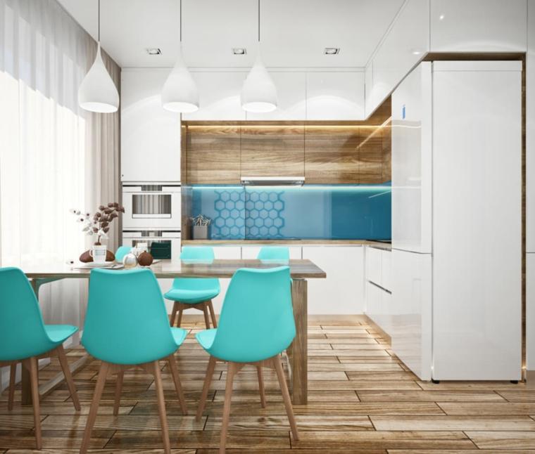 cucina e sala da pranzo insieme color tiffany significato pavimento in legno parquet