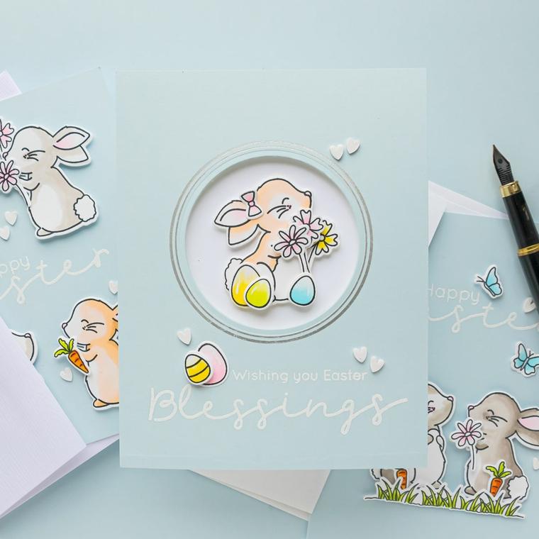 decorazione bigliettino di pasqua con disegno di un coniglietto tridimensionale