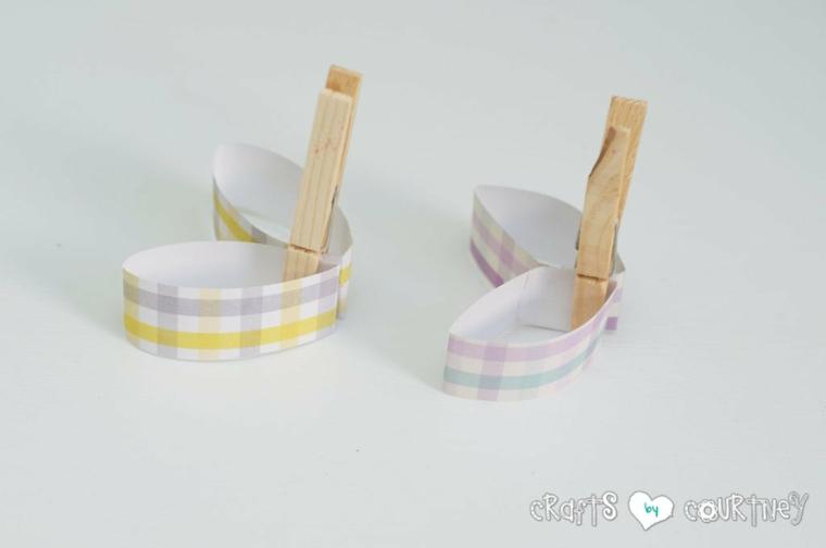 decorazioni pasquali ritagliare pezzettini di carta per orecchie di coniglietto di pasqua