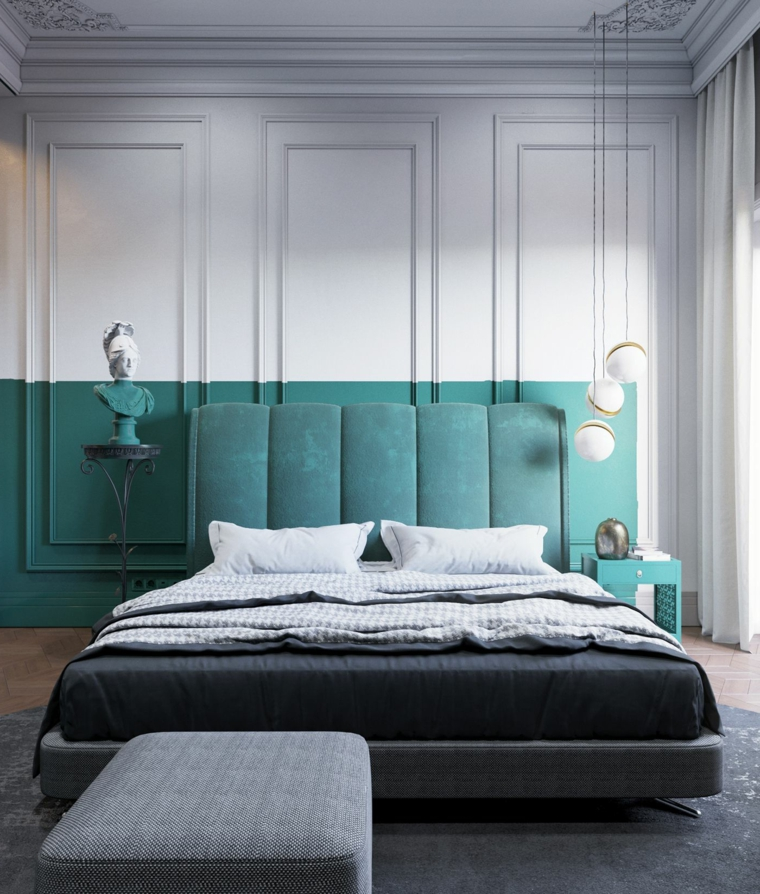 dipingere la camera da letto di due colori parete con pannello in legno bianco e verde