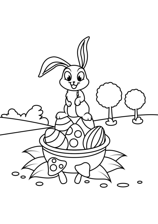 disegni buona pasqua da stampare disegno di un coniglio con cesta di uova