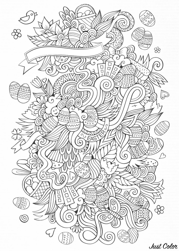 disegni buona pasqua da stampare motivi mandala di uova da colorare