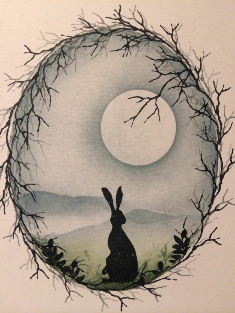 disegni da colorare pasqua schizzo con chiaro scuro a matita con coniglio e luna