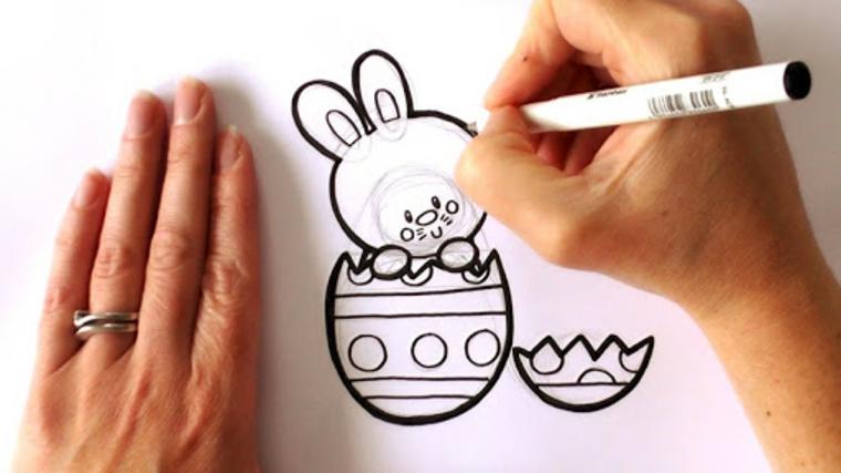 disegni da colorare pasqua schizzo di un coniglietto con pennarello