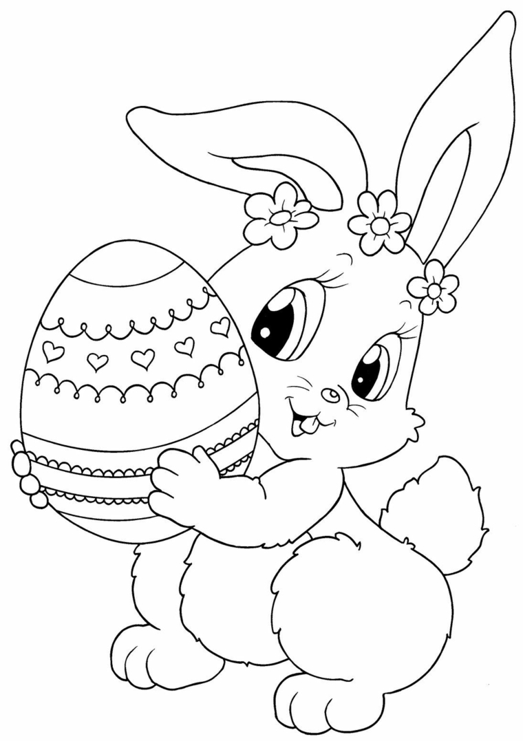 disegni di buona pasqua da stampare schizzo di coniglietto che tiene uovo