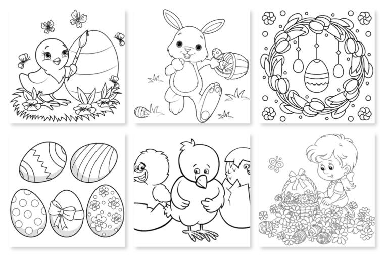 disegni di pasqua da colorare schizzi di ovetti e coniglietti pulcini
