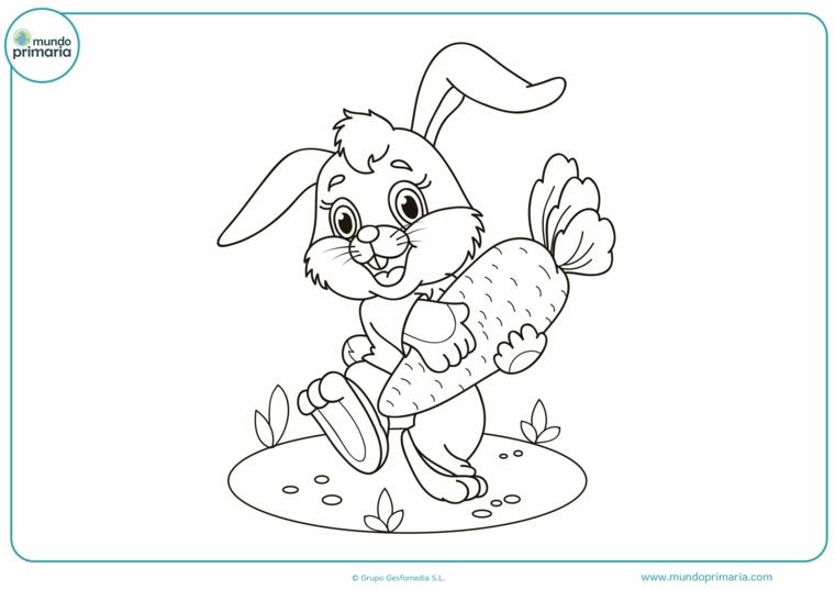 disegni di pasqua facili disegno di coniglio pasquale con carota in mano