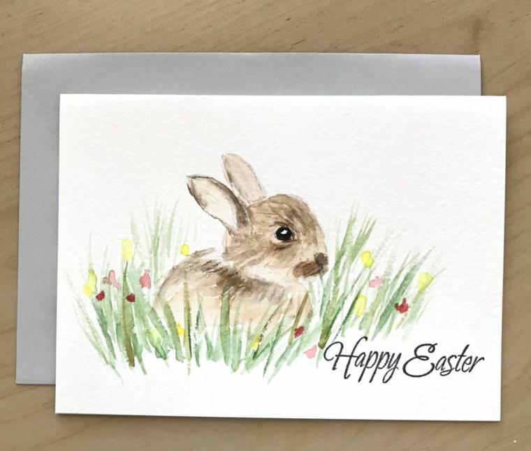 disegni di pasqua facili schizzo con matite colorate di coniglio scritta happy easter