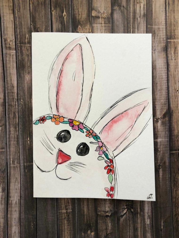 disegni di pasqua facili schizzo con matite colorate di un coniglio pasquale