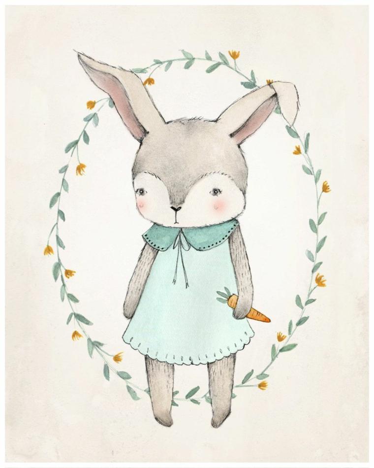 disegni di pasqua schizzo di coniglietto pasquale in cornice di fiorellini