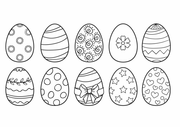 disegni di uova pasquali da stampare e colorare motivi floreali
