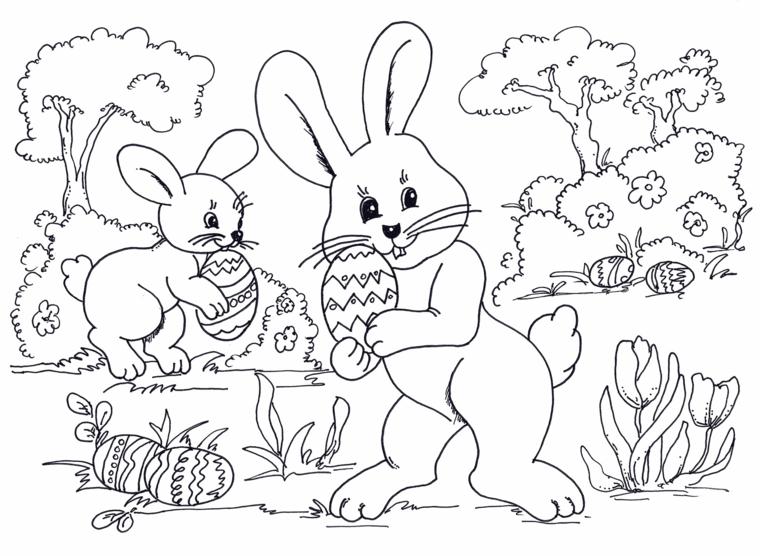 disegni pasquali colorati schizzo di coniglietti che tengono le uova