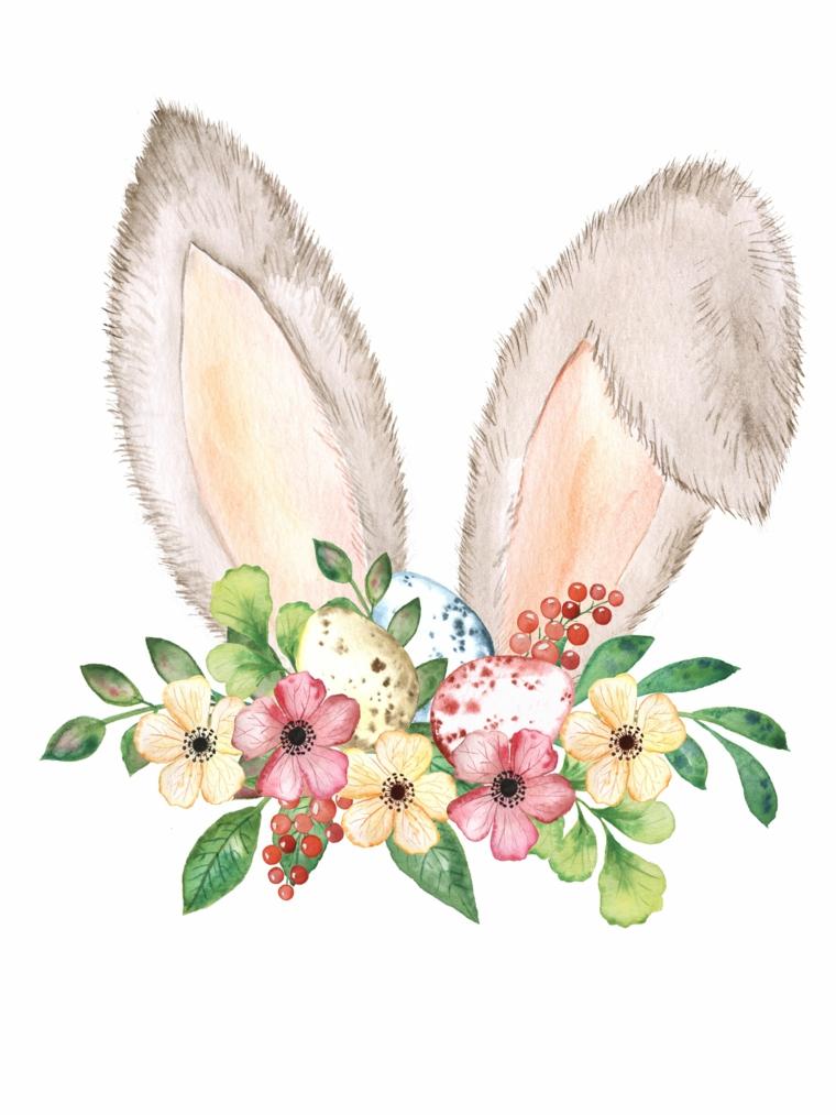 disegni pasquali colorati schizzo di orecchie di coniglio e uova colorate